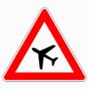 Verkehrszeichen 101-10 Flugbetrieb, Aufstellung rechts