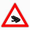 Verkehrszeichen 101-14 Amphibienwanderung, Aufstellung rechts