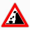 Verkehrszeichen 101-15 Steinschlag, Aufstellung rechts