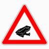 Verkehrszeichen 101-24 Amphibienwanderung, Aufstellung links