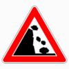 Verkehrszeichen 101-25 Steinschlag, Aufstellung links