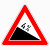 Verkehrszeichen 108.4 Gefälle 4 %