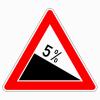 Verkehrszeichen 108.5 Gefälle 5 %