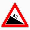 Verkehrszeichen 108.6 Gefälle 6 %