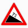 Verkehrszeichen 108.7 Gefälle 7 %