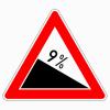 Verkehrszeichen 108.9 Gefälle 9 %