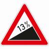 Verkehrszeichen 110.13 Steigung 13%