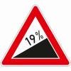 Verkehrszeichen 110.19 Steigung 19%