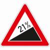 Verkehrszeichen 110.21 Steigung 21%