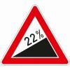 Verkehrszeichen 110.22 Steigung 22%