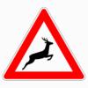Verkehrszeichen 142-20 Wildwechsel, Aufstellung links