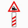 Gefahrenzeichen 156-10 dreistreifige Bake Bahnübergang ohne Entfernungsangabe, Aufstellung rechts
