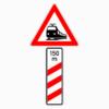 Gefahrenzeichen 156-11 dreistreifige Bake Bahnübergang mit Entfernungsangabe, Aufstellung rechts