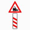 Gefahrenzeichen 156-20 dreistreifige Bake Bahnübergang ohne Entfernungsangabe, Aufstellung links