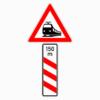 Gefahrenzeichen 156-21 dreistreifige Bake Bahnübergang mit Entfernungsangabe, Aufstellung links
