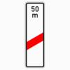 Verkehrszeichen 162-11 einstreifige Bake mit Entfernungsangabe, Aufstellung rechts