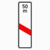Verkehrszeichen 162-21 einstreifige Bake mit Entfernungsangabe, Aufstellung links