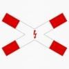 Vorschriftzeichen 201-53 Andreaskreuz liegend, mit Blitzpfeil