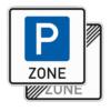 Richtzeichen 314.1-40 Beginn/Ende einer Parkraumbewirtschaftungszone, doppelseitig (Rückseite Verkehrszeichen 314.2)