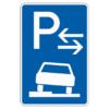 Parken auf Gehwegen halb in Fahrtr. rechts