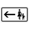 Zusatzzeichen 1000.12 Fußgänger Gehweg gegenüber benutzen, linksweisend