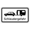 Zusatzzeichen 1006.30 Schleudergefahr für Wohnwagengespanne an Gefällestrecken mit starkem Seitenwind auf Autobahnen