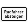 Zusatzzeichen 1012.32 Radfahrer absteigen