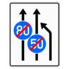 Verkehrslenkungstafel 535.11 Einengungstafeln mit Zeichen 279