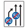Verkehrslenkungstafel 535.21 Einengungstafeln mit Zeichen 279
